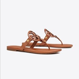 TORY BURCH MILLER LEATHER TAN SANDALS size 8.5